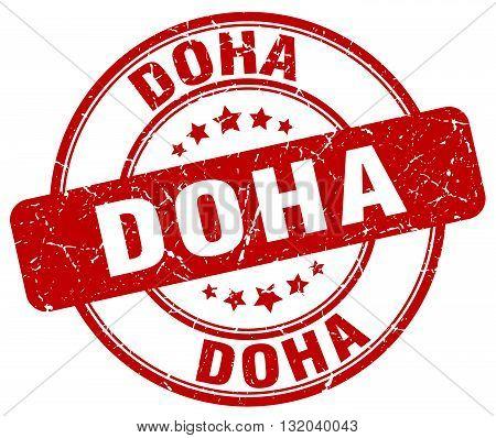 Doha red grunge round vintage rubber stamp.Doha stamp.Doha round stamp.Doha grunge stamp.Doha.Doha vintage stamp.