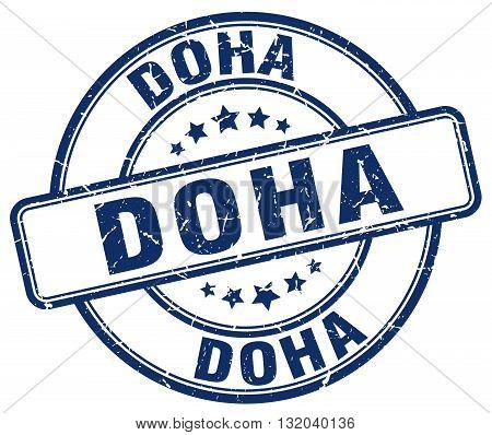 Doha blue grunge round vintage rubber stamp.Doha stamp.Doha round stamp.Doha grunge stamp.Doha.Doha vintage stamp.