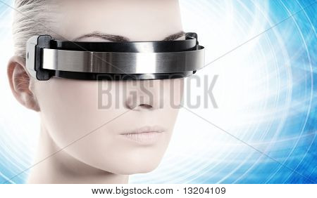 Beautiful cyber woman over abstract blue background
