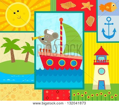 Cute coastal themed design of a sailor mouse, shells, lighthouse, island and a smiling sun. Eps10