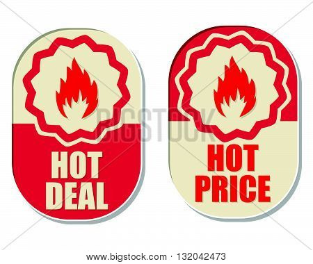 hot deal and hot price text banners with flames signs, two elliptic flat design labels with fire symbols, business shopping concept, vector