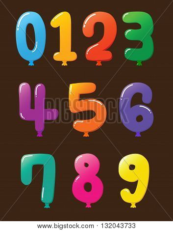 Vector stock of colorful set of balloon shaped numbers
