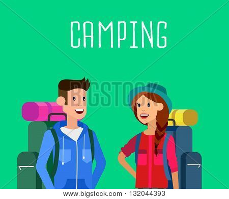 camping characters. Morning landscape in the mountains. Men and woman character camping tourists. Camping Weekend in the tent. Hiking and camping. Vector camping flat illustration