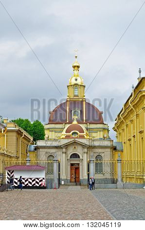 SAINT PETERSBURG RUSSIA - MAY 27 2016. Grand Ducal Burial Vault Imperial house of Romanov in the Peter and Paul Cathedral located inside the Peter and Paul Fortress