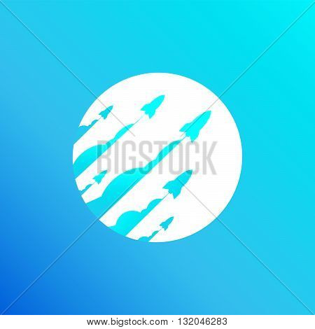 Launching rocket ship blue cover for online business