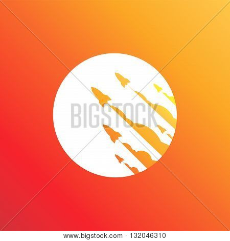 Launching orange rocket ship cover for online business