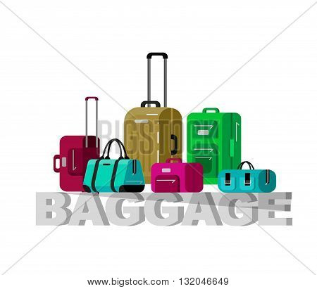 Travel bags in various colors. Luggage suitcase and Travel  bag isolated on white background. Vector travel bags. Illustration bag