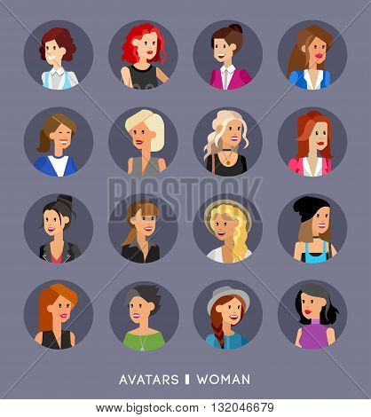 Cute cartoon human avatars set, big female faces collection , business woman. Vector detailed character avatar business woman, business people avatars, women avatars. Business woman avatars