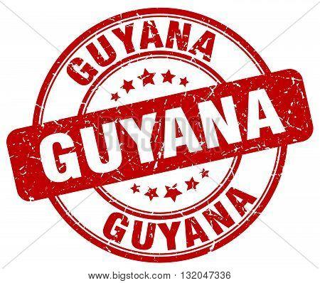 Guyana red grunge round vintage rubber stamp.Guyana stamp.Guyana round stamp.Guyana grunge stamp.Guyana.Guyana vintage stamp.
