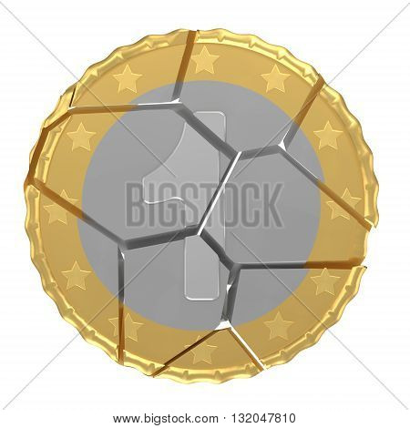 Isolated Orthographic Cracked One Coin Concept 3d Render