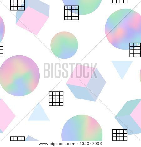 Geometric holographic trendy 80s retro seamless pattern. Holographic memphis background. Holographic retro layout. Funky hipster texture for phone case, poster, textile, art print. Hologram effect.