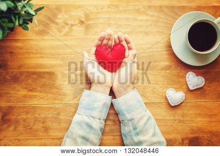 Person Holding A Handmade Red Heart