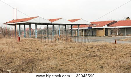 Abandoned Rural Gas Station and Service Building