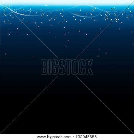 illustration of blue color light from up on dark background