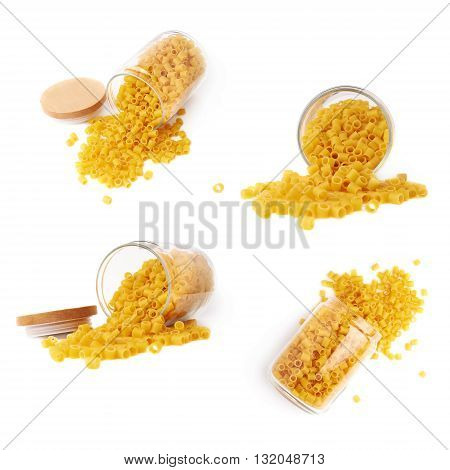 Set of glass jar filled with dry ditalini yellow pasta over isolated white background, different foreshortenings