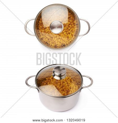 Set of metal pan with glass lid filled with dry ditalini yellow pasta over isolated white background, different foreshortenings
