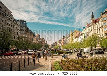 Prague, Czech republic - April 22, 2015 - Busy Wenceslas square with beautiful architecture in the Czech capital, Prague. Wenceslas square is a historical place in the center of Prague and one of the main tourist attractions of the city.