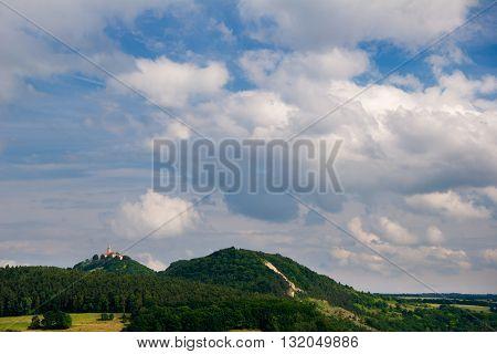 Landscape near Kahla in Thuringia with caslte Leuchtenburg behind the mount Pfaffenberg