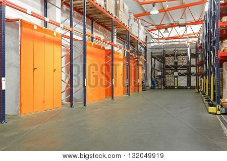 Lockers Cabinets and Storage Shelves in Warehouse