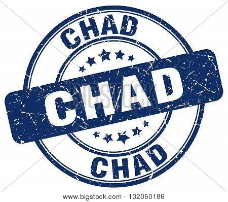 Chad blue grunge round vintage rubber stamp.Chad stamp.Chad round stamp.Chad grunge stamp.Chad.Chad vintage stamp.