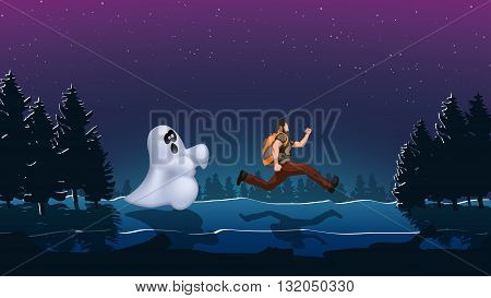 illustration of running out man from ghost in the woods