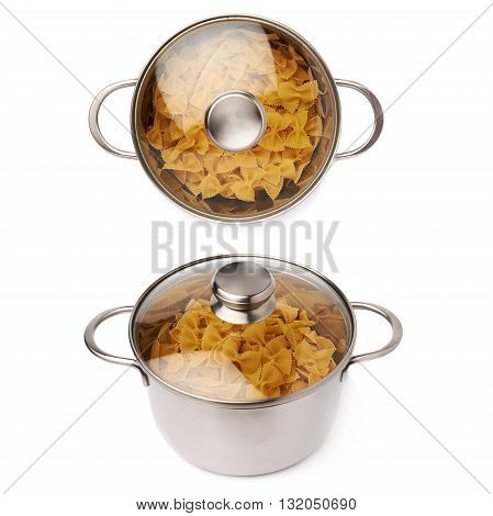 Set of metal pan with glass lid filled with dry farfalle yellow pasta over isolated white background, different foreshortenings