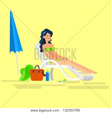 Vector detailed character Hot beautiful girl in bikini lying on a sun lounger and sunbathe on a summer beach, girlfriends go on summer vacation. Cool flat summer illustration. Vector summer