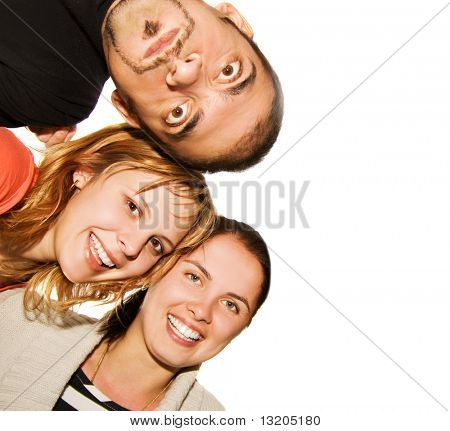 Happy Friends isoliert auf weißem Hintergrund