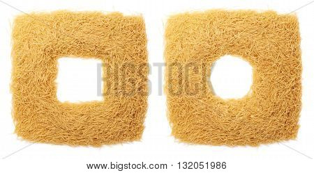 Square frame made of dry noodles yellow pasta over isolated white background