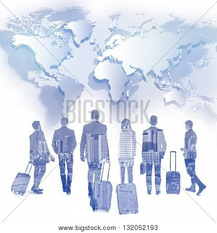 Business peoples and map. Immigration. International government concept