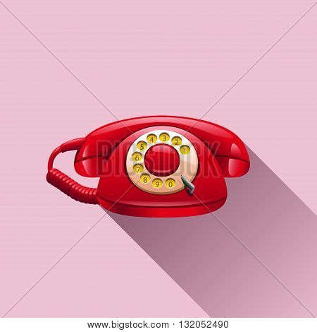illustration of red retro telephone with shadow