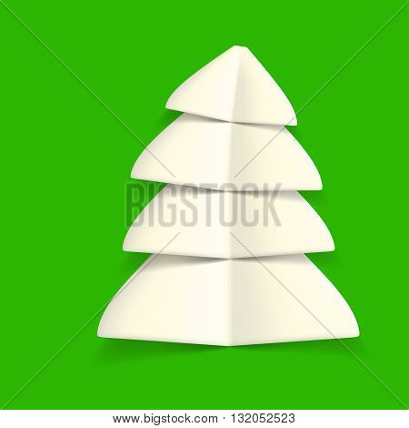 illustration of white paper christmas tree on green background