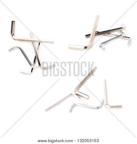 Set of hex metal allen S and L keys over white isolated background, different foreshortenings