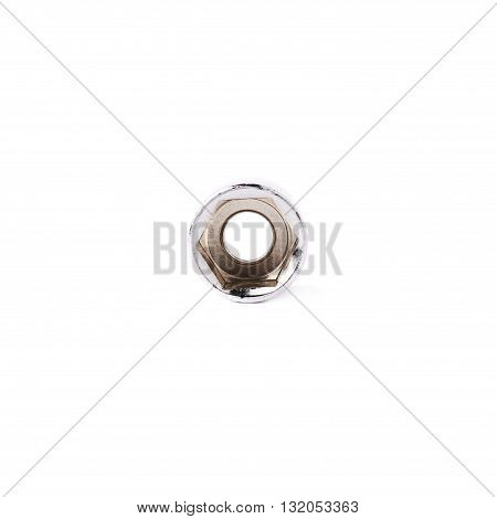 Single of metal hex socket of spanner over isolated white background