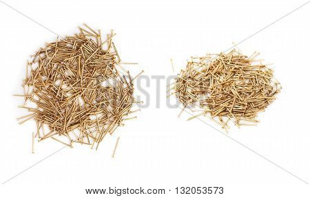 Set of pile of metal nails isolated over white background, different foreshortenings
