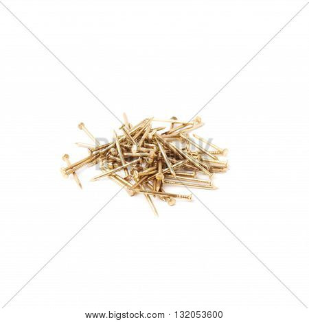 Pile of metal nails isolated over white background