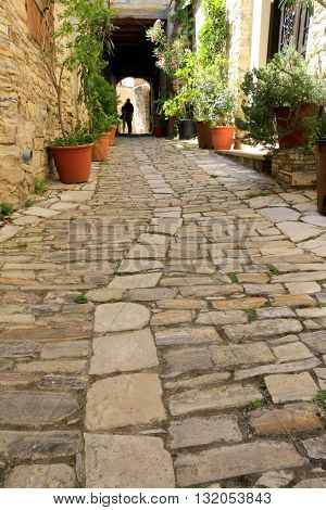 old pavement in Lefkara Village in Cyprus