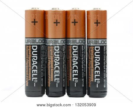 BUDAPEST, HUNGARY - MAY 1, 2016: Four AAA sized Duracell batteries
