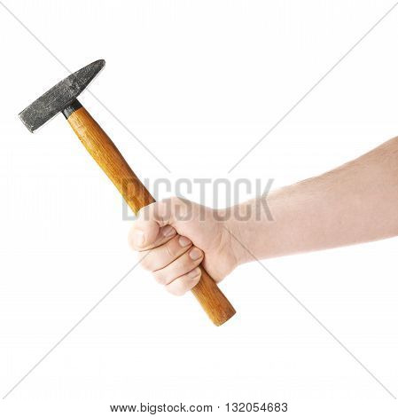 Worker's caucasian male hand holding a hammer tool, composition isolated over the white background