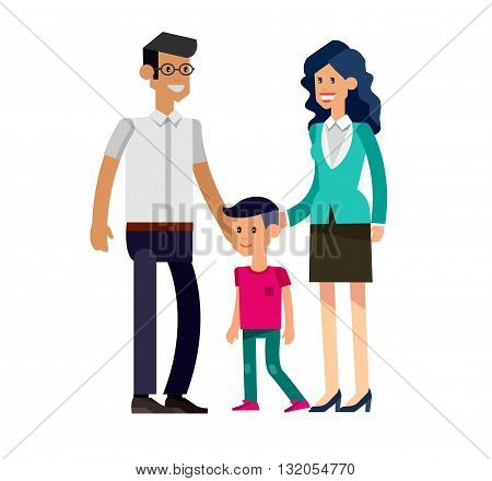 Detailed character people family, parents with kids, couple, family with children. Vector family character. Illustration family people isolated on white background