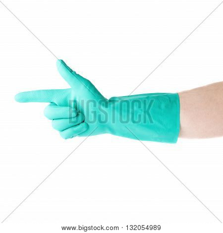 Hand in rubber latex green glove  with counting one pointing finger sign gesture over white isolated background