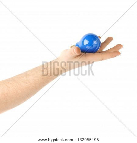 Caucasian male hand holding a blue bulb, composition isolated over the white background