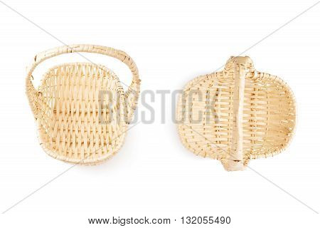 Set of brown small wicker basket isolated over the white background