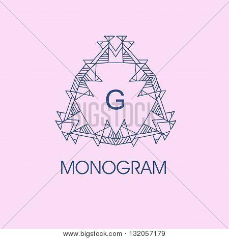 elegant monogram design. Vector  linear frame and monogram illustration. Trendy linear monogram and linear frame. Monogram