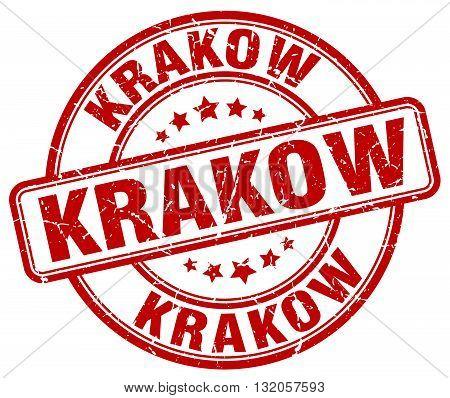Krakow red grunge round vintage rubber stamp.Krakow stamp.Krakow round stamp.Krakow grunge stamp.Krakow.Krakow vintage stamp.