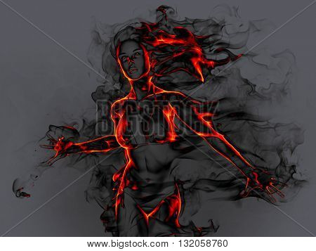 Fiery girl. 3D illustration.