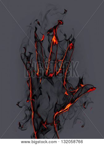Fire hand. 3D illustration.