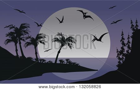 Silhouette of Pterodactyl flying in sea at the night