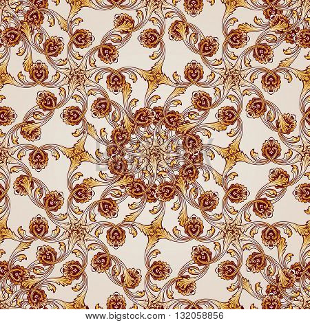 Seamless abstract floral pattern in the form of mesh from leafs vines and flowers