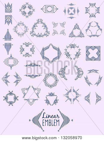 Set of elegant linear monogram design. Vector  linear frame and monogram illustration. Trendy linear monogram and linear frame. Monogram set